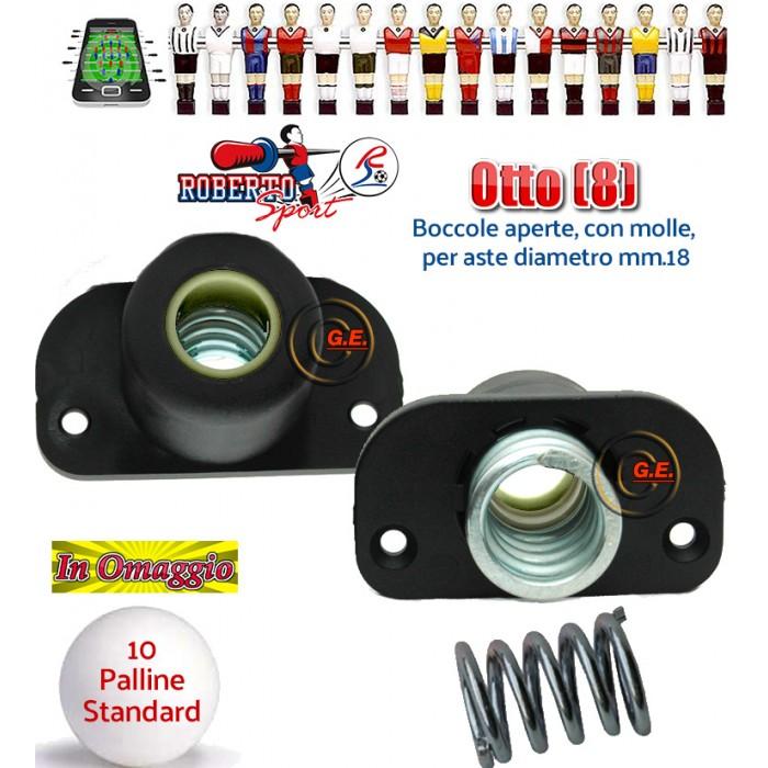 Calcio Balilla Roberto Sport otto (8) boccole 1814 universali aperte per calcetti tutti i modelli. Boccole in nylon e fibra di vetro complete di molle in acciaio. Palline in omaggio.