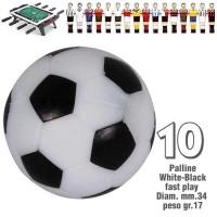 Calcio Balilla set da 10 palline bianco nere fast play,  disegno pallone da calcio Ø mm.34, peso gr.17.