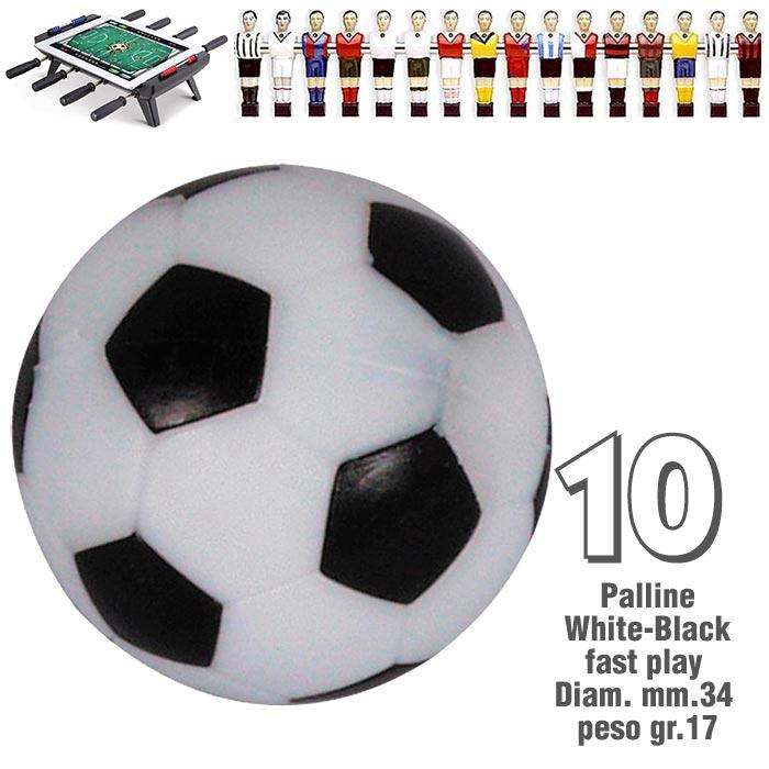 Calcio Balilla set da 10 palline bianco nere fast play,  disegno pallone da calcio  mm.34, peso gr.17.