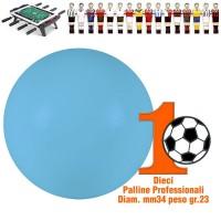 Calcio Balilla set di 10 palline professionali azzurre per gioco veloce, Ø mm.34, peso gr. 23. Rotondità e peso controllati.