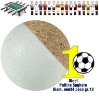 Calcio Balilla set di 10 palline silenziose in sughero naturale bianco, diametro mm.34, peso gr. 13.