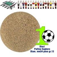 Calcio Balilla set di 10 palline silenziose in sughero naturale, diametro mm.34, peso gr. 13.