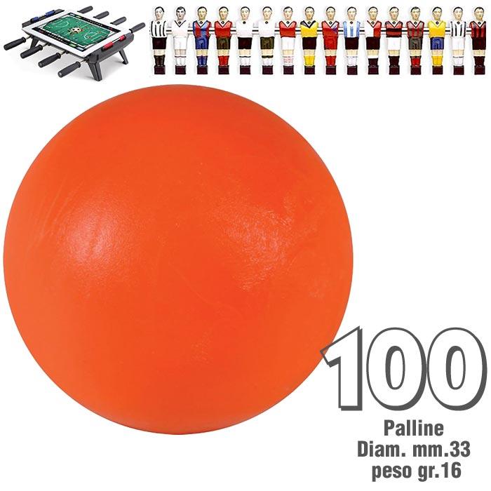 Calcio Balilla set di 100 palline standard HS colore arancio per calcetto diametro mm.33, peso gr.16..