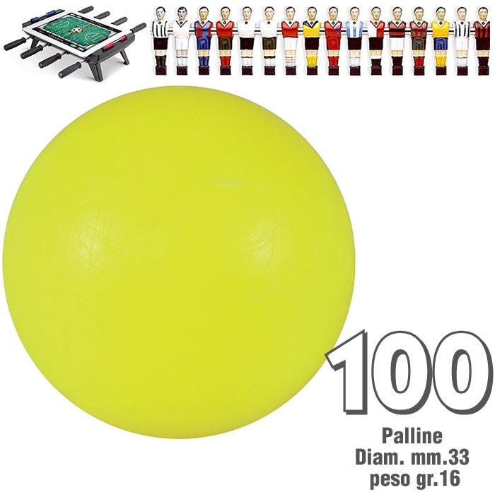 Calcio Balilla set di 100 palline standard HS colore giallo per calcetto diametro mm.33, peso gr.16.