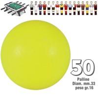 Calcio Balilla set di 50 palline standard HS colore giallo per calcetto diametro mm.34, peso gr.16. Rotondità e peso controllati.