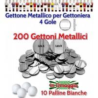 Calcio Balilla 200 gettoni metallici a quattro scalanature o gole, diametro mm.24,7, per gettoniere calcio balilla. Palline calcio Balilla in omaggio.