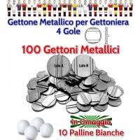 Calcio Balilla 100 gettoni metallici a quattro scalanature o gole, diametro mm.24,7, per gettoniere calcio balilla. Palline calcio Balilla in omaggio.