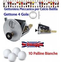 Calcio Balilla Gettoniera meccanica universale con impiego gettoni. In omaggio di 10 palline per calcio balilla.