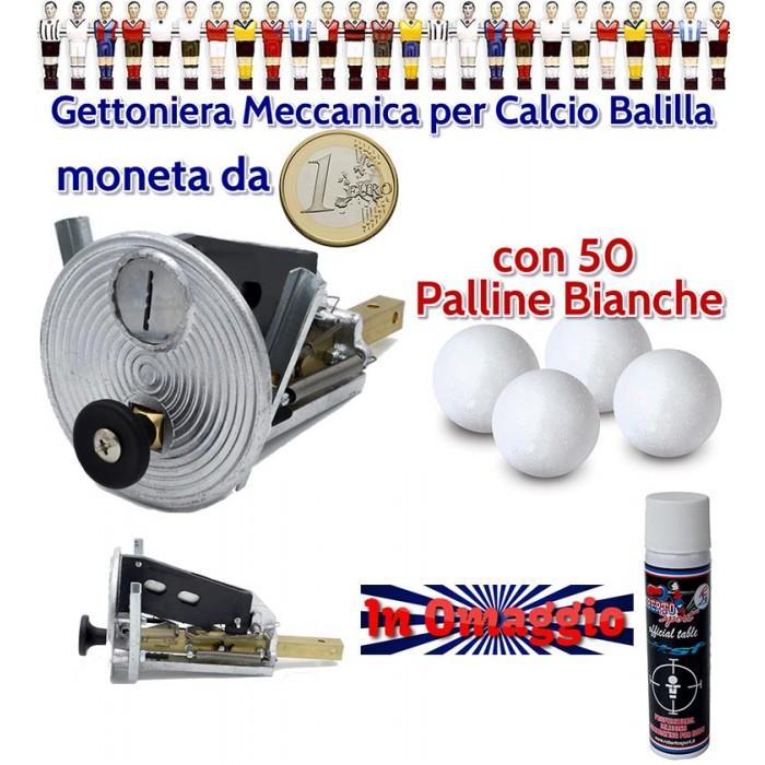 Calcio Balilla gettoniera meccanica universale con moneta da 1 euro con 50 palline bianche, lubrificante Roberto Sport in omaggio