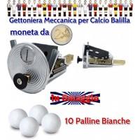 calcio balilla Gettoniera meccanica universale con impiego di monete da 2 euro. In omaggio di 10 palline per calcio balilla.