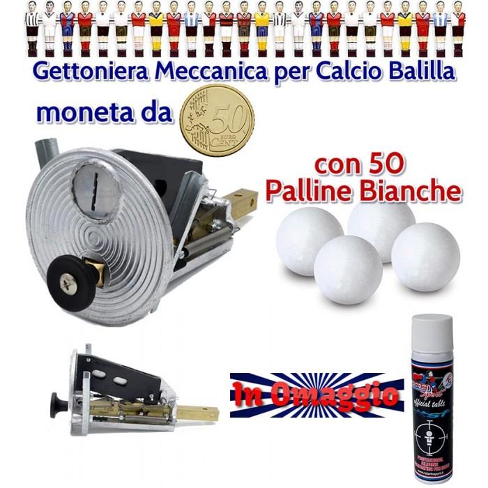 Calcio Balilla gettoniera meccanica universale con moneta da 50 cent. con 50 palline bianche, lubrificante Roberto Sport in omaggio