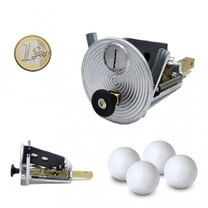 calcio balilla Gettoniera meccanica universale con impiego di monete da 1 euro. In omaggio di 10 palline per calcio balilla.
