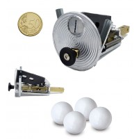 Calcio Balilla Gettoniera meccanica universale con impiego di monete da 50 cent. In omaggio di 10 palline per calcio balilla.