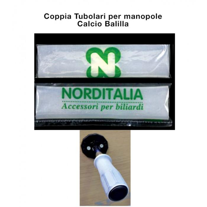 Coppia tubolari in silicone antiscivolo, bianco trasparente, per manopole Calcio Balilla, cm.15.