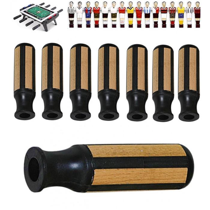 Garlando set completo otto (8) manopole per aste calcio balilla diametro mm.16,. Manopole in gomma con inserti in legno, per una migliore presa.