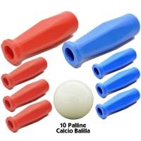 Calcio Balilla otto (8) manopole universali Gripply per aste diametro mm.16. Quattro blu e quattro rosse, abbinate ad un set di dieci (10) palline per calcio balilla.