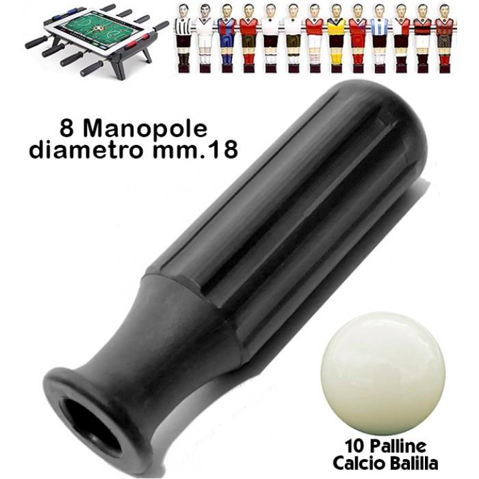 Calcio Balilla otto (8) manopole Reta L97 in gomma termoplastica nera adatte calcetti Roberto Sport, aste diametro mm.18. Abbinate a dieci (10) palline per calcio balilla.