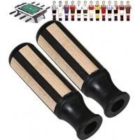 Calcio balilla coppia manopole per calcetti Garlando in gomma con inserti in legno, adatte aste diametro mm.16.