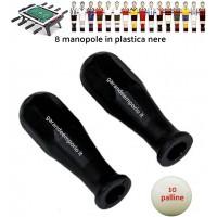 Calcio Balilla serie di otto (8) manopole nere in polipropilene per aste diametro mm.16 abbinate con 10 palline calcetto bianche.