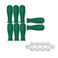 Calcio Balilla serie di otto (8) manopole colore verde in polipropilene per aste diametro mm.16 abbinate con 10 palline calcetto bianche.