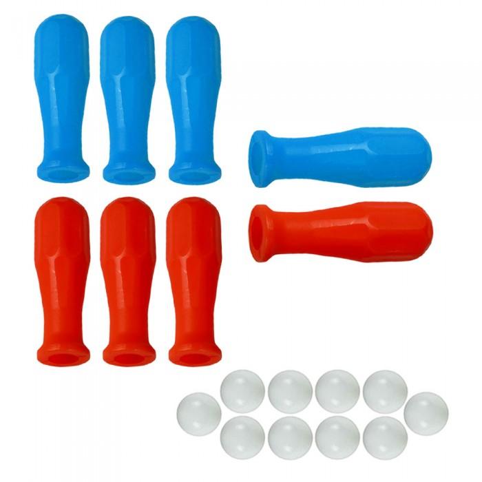 Calcio Balilla otto (8) manopole universali per aste diametro mm.16. Quattro blu e quattro rosse, abbinate ad un set di dieci (10) palline per calcio balilla.