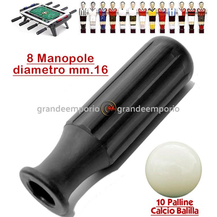 Calcio Balilla otto (8) manopole Reta L97 in gomma termoplastica nera adatte calcetti Roberto Sport, aste diametro mm.16. Abbinate a dieci (10) palline per calcio balilla.