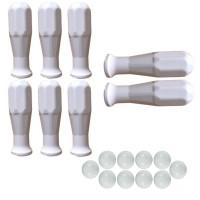 Calcio Balilla serie di otto (8) manopole bianche in polipropilene per aste diametro mm.16 abbinate con 10 palline calcetto bianche.