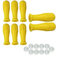 Calcio Balilla serie di otto (8) manopole gialle in polipropilene per aste diametro mm.16 abbinate con 10 palline calcetto bianche.