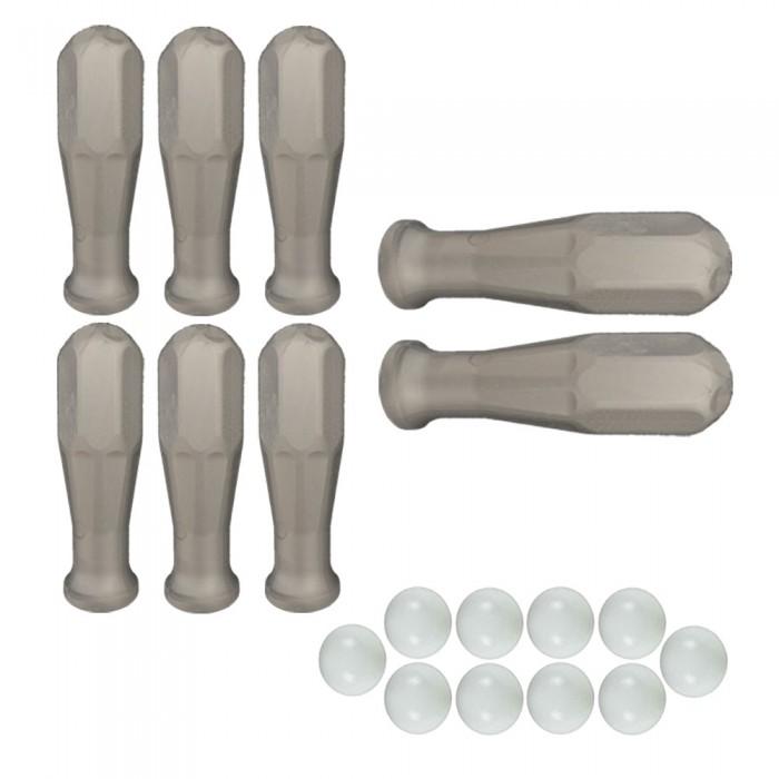 Calcio Balilla serie di otto (8) manopole grigie in polipropilene per aste diametro mm.16 abbinate con 10 palline calcetto bianche.
