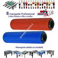 Calcio balilla Roberto Sport otto (8) manopole originali Professional per aste diametro mm.18 colori rosso, blu