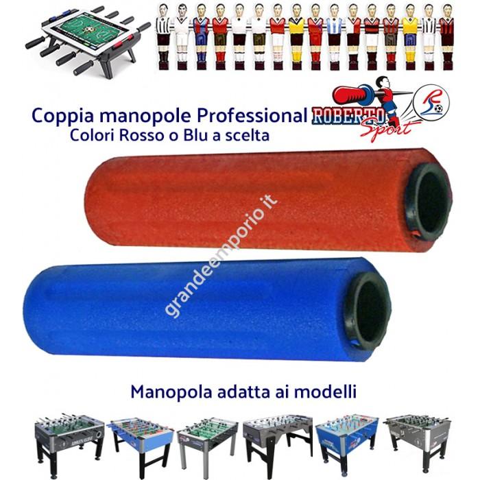 Calcio balilla ricambio Roberto Sport, coppia manopole originali Professional per aste diametro mm.18 colori rosso, blu