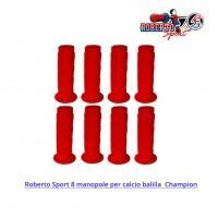 Roberto Sport 8 manopole in gomma originali per calcio balilla Champion colore rosso