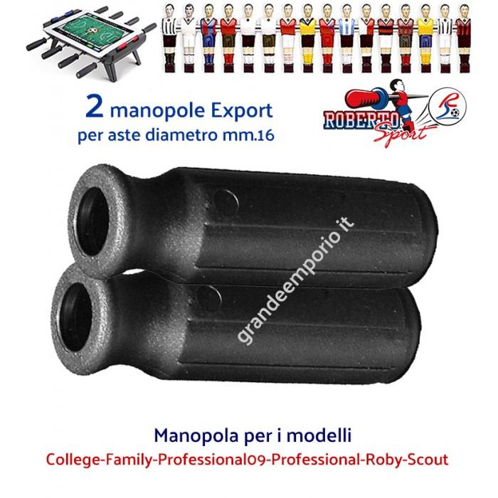 Calcio balilla Roberto Sport,  College-Family-Professional09-Professional-Roby-Scout due (2) manopole Export colore nero per aste diametro mm.16.