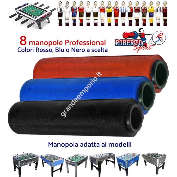 Calcio balilla Roberto Sport otto (8) manopole originali Professional per aste diametro mm.18 colori rosso, blu o nero a scelta