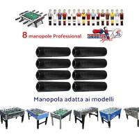 Calcio balilla Roberto Sport otto (8) manopole originali Professional per aste diametro mm.18 colore nero