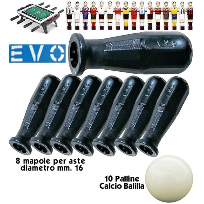 Calcio Balilla Manopole EVO.  8 manopole in polipropilene nero per aste calcio balilla mm.16, con omaggio palline.