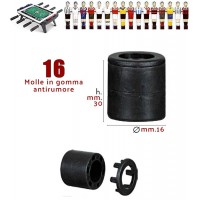 Calcio Balilla set 16 molle in gomma antirumore altezza mm.30 diametro per aste mm.16 Shore 50