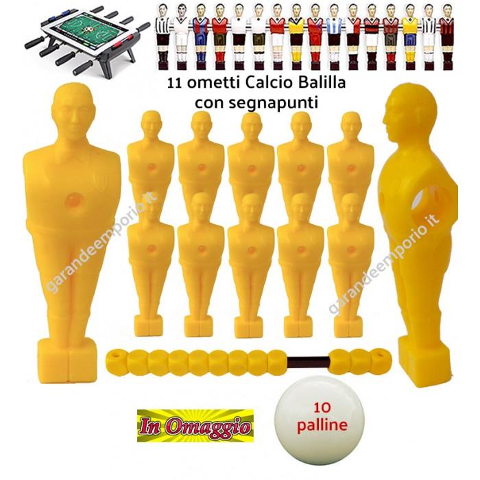 Calcio Balilla serie di 11 ometti-giocatori colore giallo, con foro diametro mm.3, per aste forate, diametro 16. Altezza cm.11 piede classic, con segnapunti giallo. In omaggio 10 palline.