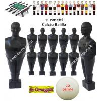 Calcio Balilla serie di 11 ometti-giocatori colore nero, con foro diametro mm.3, per aste forate, diametro 16. Altezza cm.11 piede quadrato classic. In omaggio 10 palline.