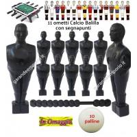 Calcio Balilla serie di 11 ometti-giocatori colore nero, con foro diametro mm.3, per aste forate, diametro 16. Altezza cm.11 piede classic, con segnapunti giallo. In omaggio 10 palline.