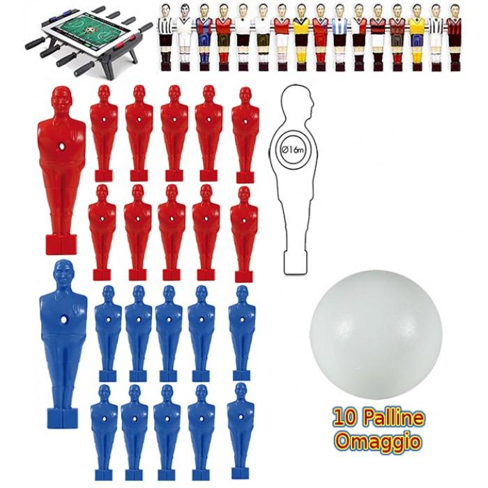 Calcio Balilla serie di 22 ometti-giocatori, 11 rossi e 11 blu con foro diametro mm.3, per aste forate, diametro 16. Altezza cm.11 piede quadrato classic. In omaggio 10 palline.