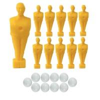 Calcio Balilla serie di 11 ometti-giocatori colore giallo, con foro diametro mm.3, per aste forate, diametro 16. Altezza cm.11 piede quadrato classic. In omaggio 10 palline.