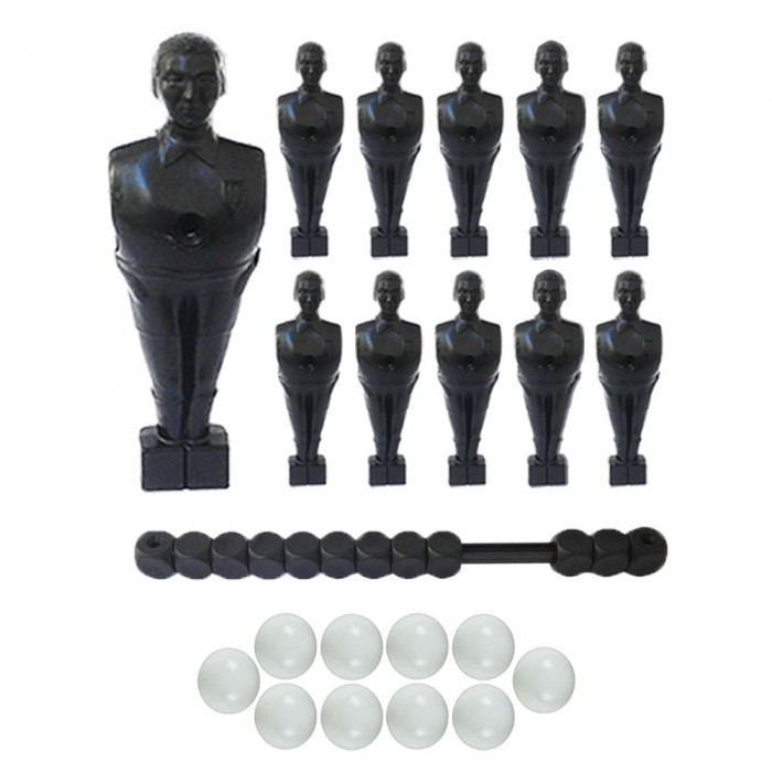 Calcio Balilla serie di 11 ometti-giocatori colore nero, con foro diametro mm.3, per aste forate, diametro 16. Altezza cm.11 piede classic, con segnapunti nero. In omaggio 10 palline.