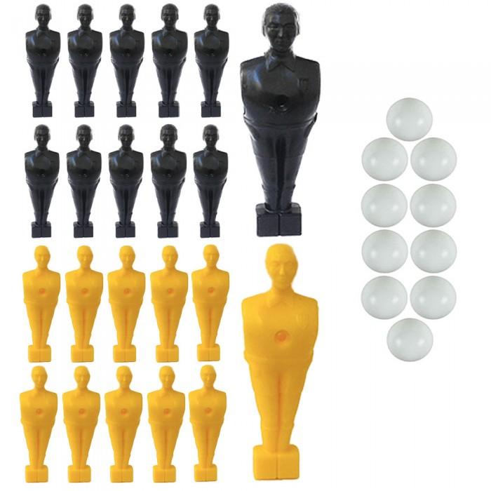 Calcio Balilla serie di 22 ometti-giocatori colore nero e giallo, con foro diametro mm.3, per aste forate, diametro 16. Altezza cm.11 piede quadrato classic. In omaggio 10 palline.