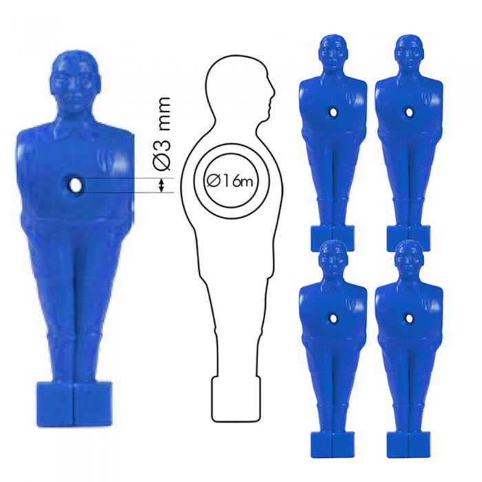 Calcio Balilla set ricambio cinque (5) giocatori, ometti blu con foro, h. mm.110 per  aste calcio balilla diametro mm.16.