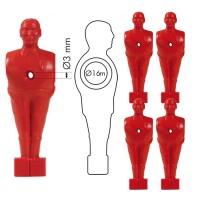 Calcio Balilla set ricambio cinque (5) giocatori, ometti rossi con foro, h. mm.110 per  aste calcio balilla diametro mm.16.