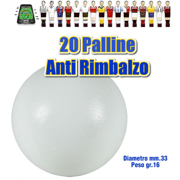 Calcio Balilla set 20 Palline bianche Antirimbalzo in polietilene prima scelta, diametro mm.33, peso 16gr. calcio, balilla, palline, professionale