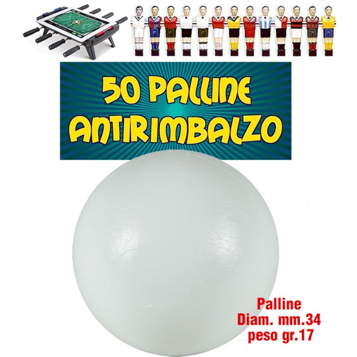 Calcio Balilla set 50 Palline bianche Antirimbalzo in polietilene prima scelta, diametrocmm.33, peso 17gr.