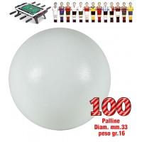 Calcio Balilla set di 100 palline universali HS, prima scelta, colore bianco, diametro mm.33, peso gr.16. Rotondità e peso controllati.