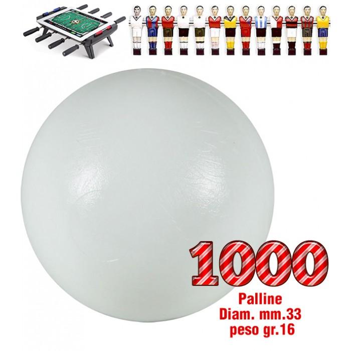 Calcio Balilla set di 1000 palline universali HS, prima scelta, colore bianco, diametro mm.33, peso gr.16. Rotondità e peso controllati.